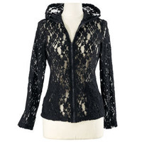 Lace Zip Front Hoodie                              - New Age & Spiritual Gifts at Pyramid Collection