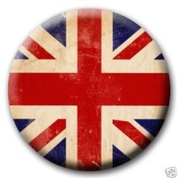 "Union Jack Distressed British Flag PINBACK BUTTON Pin / Badge Britain (1.5"" pin-back button (small))"