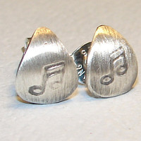 Guitar Pick Stud Earrings Handmade from Sterling Silver with Music Note