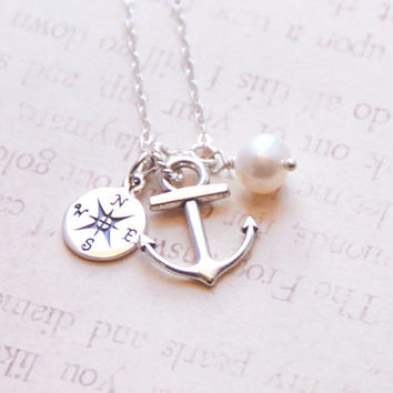 Anchor Compass Necklace, Sterling Silver, Ship Sea Compass Rose, Ocean Necklace, Navy Wife, Bridesmaid Nautical Gift, Navy Mother Necklace