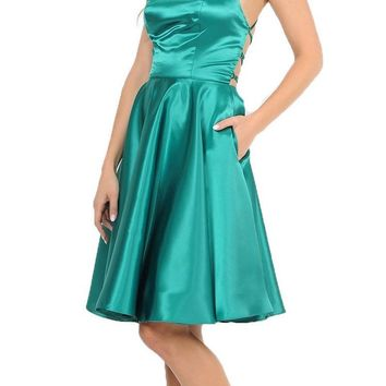 Green Strappy Back Homecoming Short Dress with Pockets