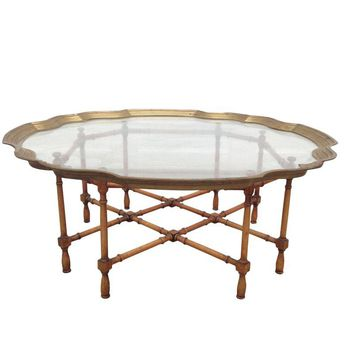 Pre-owned Brass, Glass & Bamboo Coffee Table
