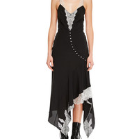 Olivier Theyskens Sleeveless Silk Dress w/ Handkerchief Hem & Lace Details