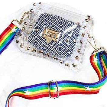Rainbow Strap PVC Hologram Clutch
