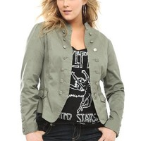 Torrid Plus Size Olive Open-Front Military Jacket