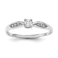 Sterling Silver Rhodium-plated Polished and CZ Ring