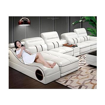 7 Seater Wide  Sectional Sofa With Massager and Speaker