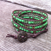 Beaded Leather 4 Wrap Bracelet with Lime Green Czech Glass Beads