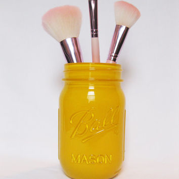 Painted Mason Jar, Customizable, Makeup Brush Holder, Pencil Holder, Custom Colored Mason Jar, Colored Mason Jar