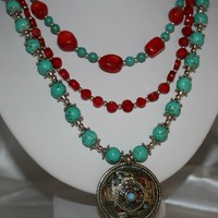 Turquoise Red Coral Silver Bead Triple Strand Amulet Pendant Necklace