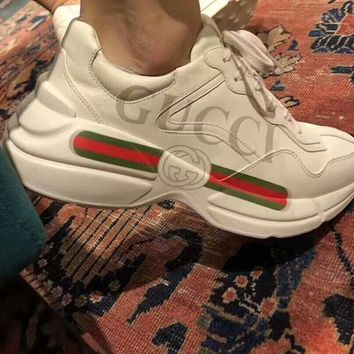 Gucci Trending Unisex Personality Logo Print Sport Shoe Couples Sneakers I