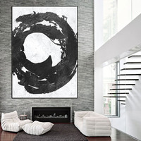 minimalist Abtract painting, extra large wall art, large abstract painting on canvas, black and white wall art,  acrylic painting