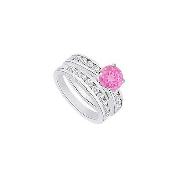 Pink Sapphire & Diamond Engagement Ring with Wedding Band Sets 14K White Gold  1.25 CT TGW