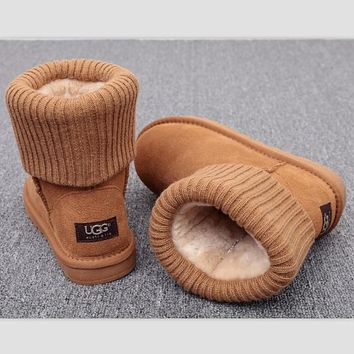 UGG Fashion Plush leather boots boots in tube Boots Brown