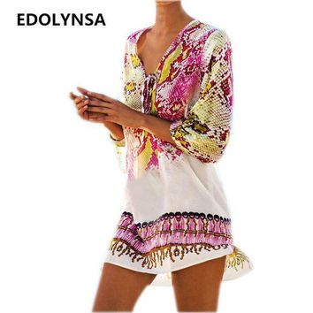 DCCK7N3 New Arrivals Beach Caftan Swimsuit Cover up Print Chiffon Pareo Women Robe Plage Swimwear Dress Sexy Sarong Beach Tunic #Q152