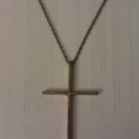 Extra Long Vintage Gold Cross Necklace by allthingswildandfree