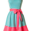 Mint and Neon Pink Strapless Striped Dress