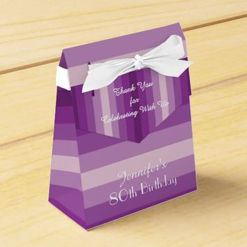 80th Birthday Favor Box, Purple Stripes Favor Box