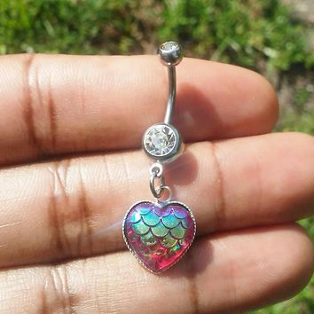Mermaid scale heart belly button navel ring 14 gauge stainless steel body jewelry, 14g