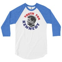 Youth For Kennedy Retro 3/4 Sleeve Baseball Raglan