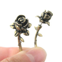 Fake Gauge Earrings: Detailed Rose Floral Flower Shaped Plug Earrings in Brass
