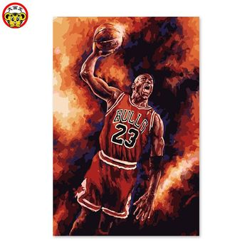 DIY digital painting, Jordan, basketball player, defender, NBA Chicago Bulls, star, popular