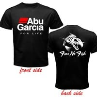 Abu Garcia Fishing Reel Logo 2 Sides Black T Shirt Size s to 3XL AV