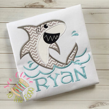 Shark Bite T-Shirt - Personalized Boys Applique Shark Shirt - Shark Embroidered Shirt- Beach Bacation Shirt