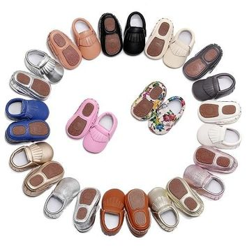 Floral print PU Leather Fringe baby moccasins shoes walkers / 10 color choices