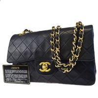 Auth CHANEL CC Matelasse Double Flap Quilted Chain Shoulder Bag Leather 638BC476