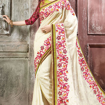 White and Lemon Green Georgette Embroidered Saree