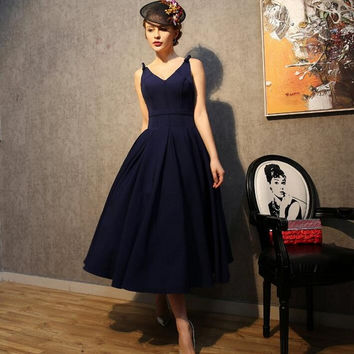 Vintage 1950's Style Navy Black Short Prom Dresses For Women Bow Tea Length Open Back Evening Party Little Black Dress Vestido