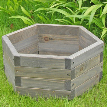 Medium 20 x 20 x 9-inch Hexagon Fir Wood Barrel Planter