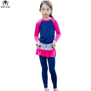 MANYIER Lovely Girls Swimsuit 2018 Children Camo Swimming Clothes Cute Kids Bathing Suit Swim Suit Long Sleeve Top Board long