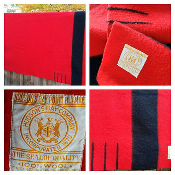 Vintage HUDSON'S BAY 4 Point Blanket Scarlet Red, Point Blanket Trading Wool Blanket Circa 1955, Camping Glamping, Made in England.