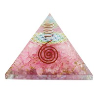 Rose Quartz Flower of Life Orgone Pyramid