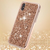 DCCK3SY iPhone X Case, iPhone 10 Case,FLYEE 2 in 1 Bling Crystal 3D Diamond Pattern Sparkly Handmade Rhinestone Soft TPU Silicone Bumper Cover Perfect Fit for Apple iPhoneX iPhone10 Rose Gold