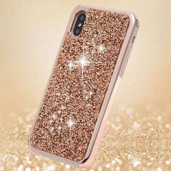 LMFON iPhone X Case, iPhone 10 Case,FLYEE 2 in 1 Bling Crystal 3D Diamond Pattern Sparkly Handmade Rhinestone Soft TPU Silicone Bumper Cover Perfect Fit for Apple iPhoneX iPhone10 Rose Gold