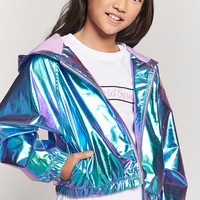 Girls Metallic Zip-Up Windbreaker (Kids)