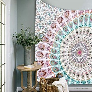 210X145cm Indian Mandala Tapestry Wall Hanging Bedspread Throw Blanket Picnic Mat Beach Towel Home Room Decorative Textiles