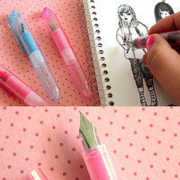 Cute Transparent Fountain Pen - Pink or Blue (5 refills included)