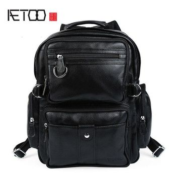 University College Backpack AETOO Personality men and women lychee pattern dual purpose  British  wind leather bag fashion square AT_63_4