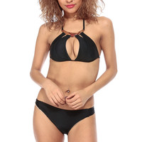 Black Gold Plated Cut Out Two Piece Swimsuit