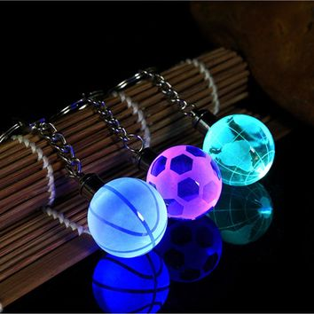 Fancy&Fantasy 2017 New LED Keychain 30MM Glass Ball 3D Globe Crystal Ball Colorful Pendants