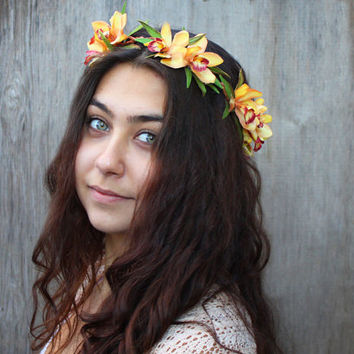 Yellow Orchid Crown. Orchid Headpiece, Tropical, Wedding, Orchid, Hawaiian, Tropical Hair, Beach, Bridal Flower Crown, Floral Crown, Halo