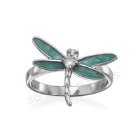Wildfire Rhodium Plated Silver DRAGONFLY Ring