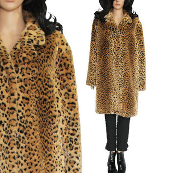 90s Leopard Faux Fur Coat 80s Vintage Club Kid Boho Hipster Clothing Soft Animal Print long Jacket Womens Size Large