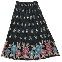 Women's Long Skirts Black Sequins Ankle Length Rayon Indian Clothing: Amazon.com: Clothing