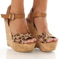 Walking On Sunshine Wedges: Leopard