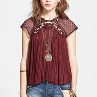 Free People 'Stars Align' Lace Sleeve Swing Top